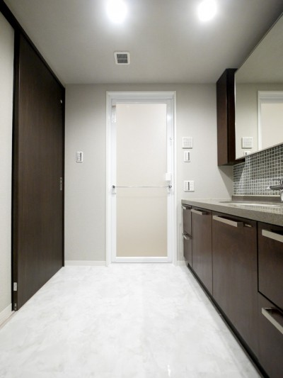 洗面室内 (キッチンと洗面室を繋ぐ便利な家事動線)