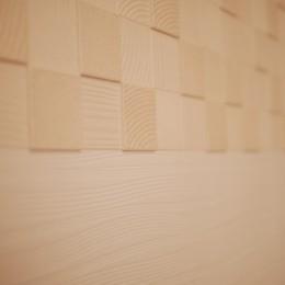 リビングの壁面にエコカラットを (エコカラットの境目、きれいな処理です)