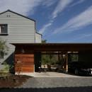 ガレージのある家/趣味が満載、ネコとバイクとガレージハウスの写真 外観