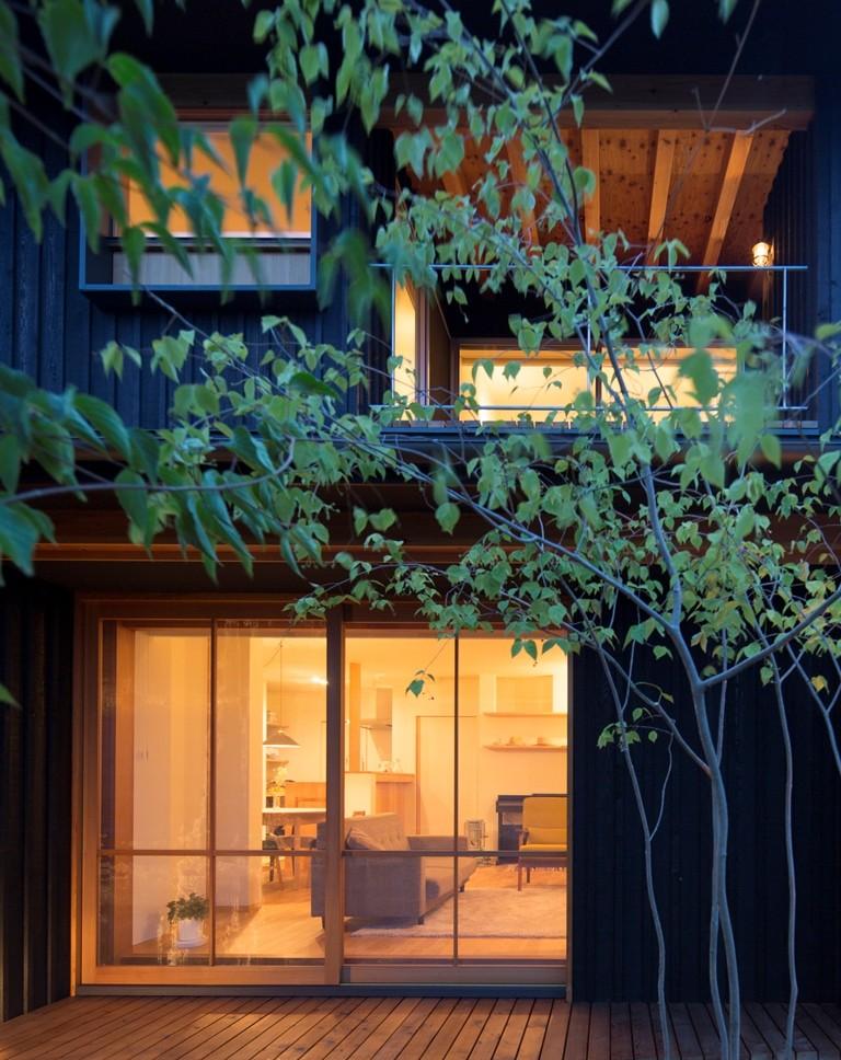 寺津の家/墨色の押縁板壁の家 (外観)