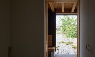 玄関よりポーチ方向を望む|寺津の家/墨色の押縁板壁の家