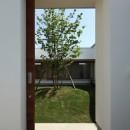 海東の家/地に近い暮らし 中庭が広がる住まいの写真 中庭に続く引き戸
