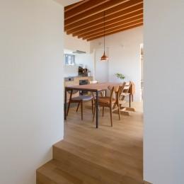 堀之内の家/北欧家具に囲まれて過ごす家 (居間より食堂台所を望む)