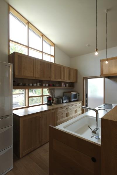キッチン (自然体で暮らす平屋~光・風・緑を取り込む家~)