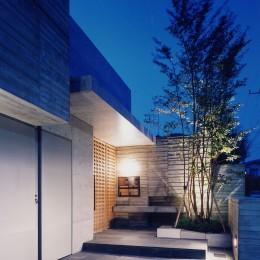 白楽の家 (玄関夜景−2)