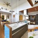 大好きなアジアンテイストの住まいの写真 家の主役 ターコイズブルーのキッチン