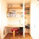 築40年以上の戸建住宅を快適なお住まいへリノベーションの写真 造り付けカウンターと本棚を備えたお兄ちゃんの個室