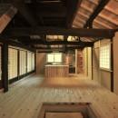 愛知の茅葺き再生の写真 囲炉裏と台所。