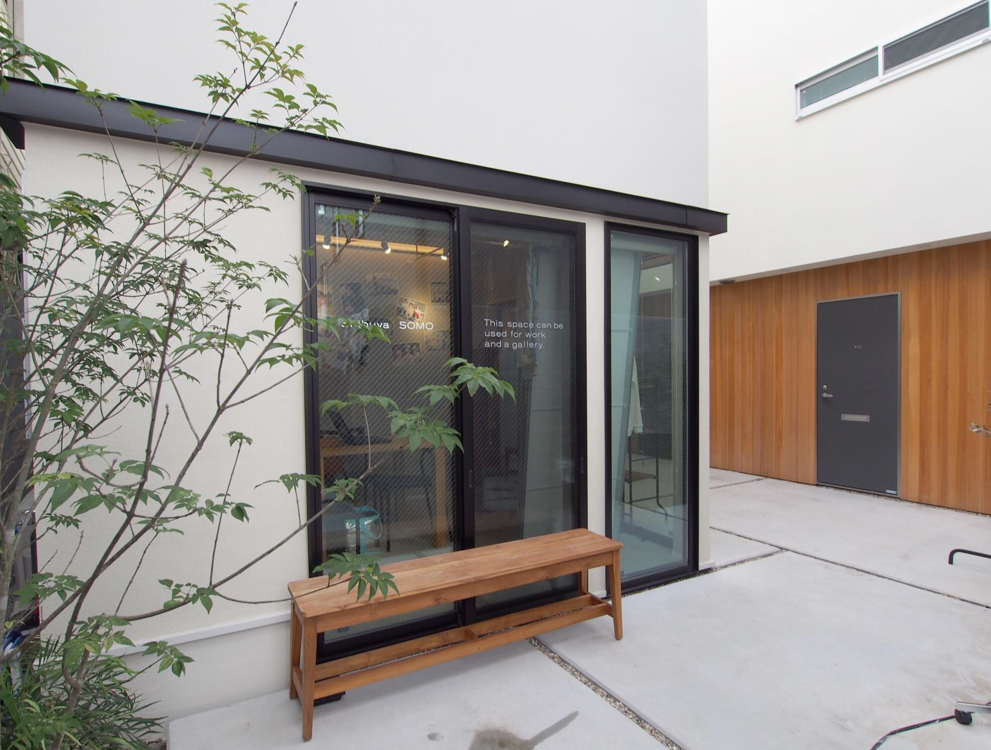 外観事例:中庭空間のある賃貸住宅(Shibuya-somo)