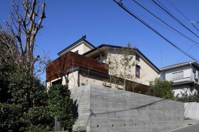 片瀬山の家〜相模湾を一望にするスキップフロアの家〜 (外観)