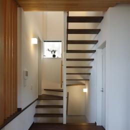 片瀬山の家〜相模湾を一望にするスキップフロアの家〜 (階段)