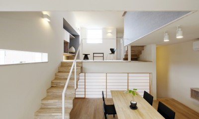 Tajima no ie -スキップフロアの家- (リビング・ダイニング)