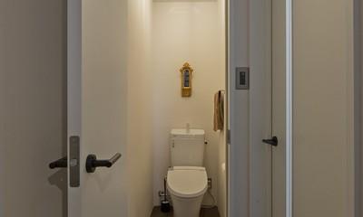 店舗と住居の兼ねた目をひくファサードの家 (トイレ)