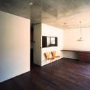 【末広の家 <親の家>】敷地に合わせた末広がりの2世帯住宅の写真 リビングダイニング