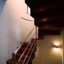 【末広の家 <親の家>】敷地に合わせた末広がりの2世帯住宅の写真 階段