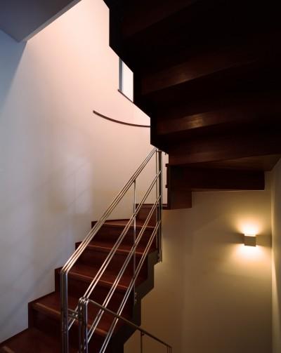 階段 (【末広の家 <親の家>】敷地に合わせた末広がりの2世帯住宅)