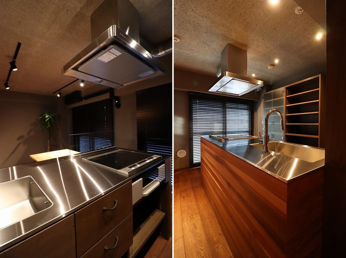 キッチン事例:造作オリジナルキッチン(マンションリノベーション)