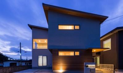 2つのリビングの家 (外観(夜景))