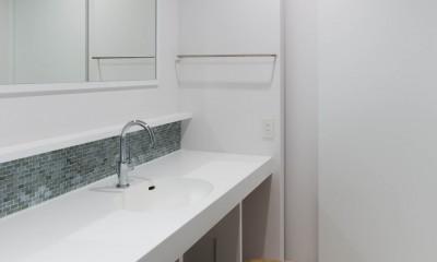 2つのリビングの家 (洗面室)
