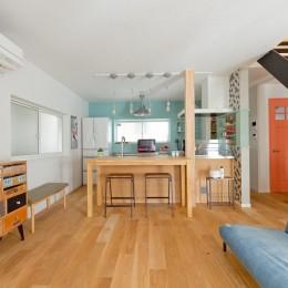 大阪府Mさん邸:広い玄関土間やオープンなキッチンで明るく