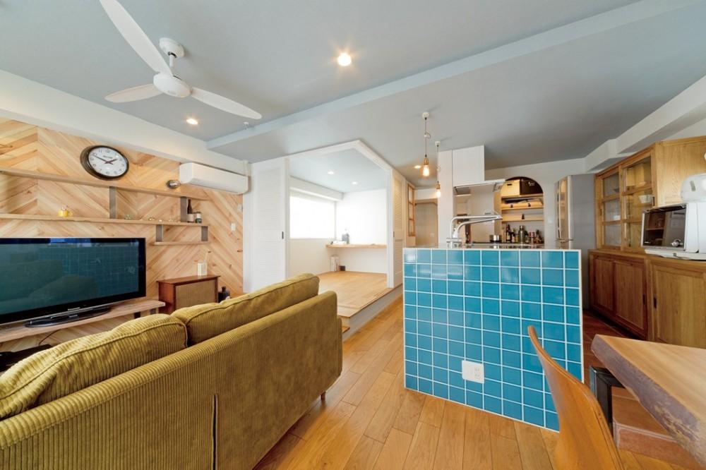 大阪府Kさん邸:水回りを移動し、スキップフロアの広々LDKに (広々LDK2)