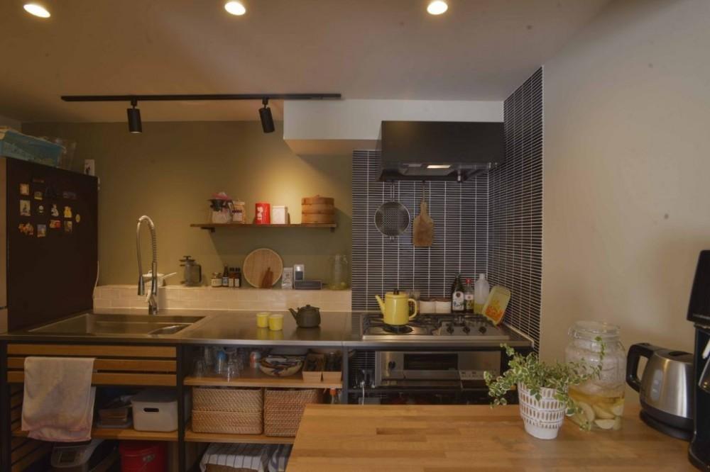 猫とくつろぐ長い廊下の家 (フレームキッチンとカウンター)
