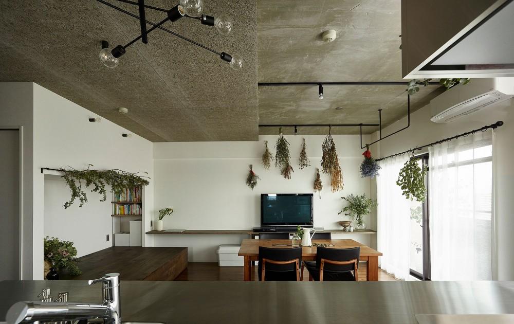 モルタルキッチンが映えるドライフラワーのある暮らし (リビングダイニング)