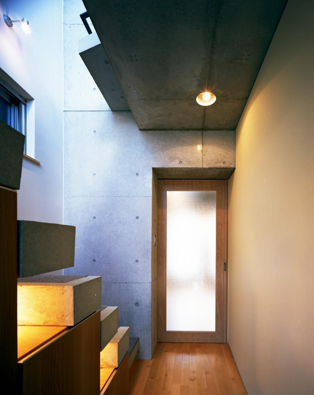 【日本橋-川辺の家  <親の家>】 川の畔に建つ、宙に浮くコンクリートの箱 (玄関)