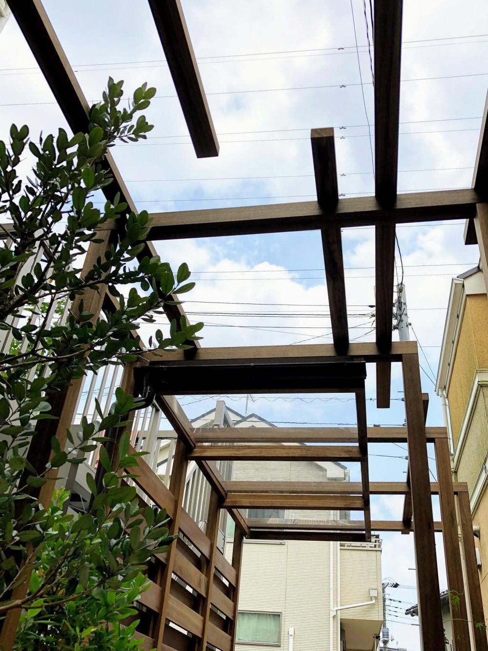 旗竿地の屋根付きパーゴラ (透明パネルが施工されたパーゴラ)