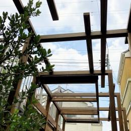 旗竿地の屋根付きパーゴラ