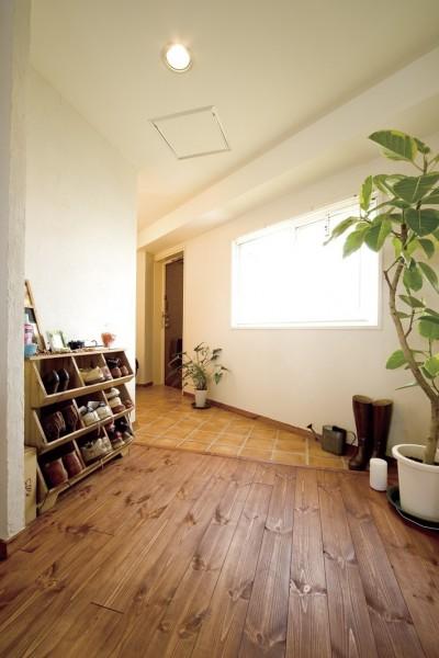 採光も抜群の気持ちがいい玄関 (大阪府Fさん邸:スケルトンリフォームで生まれた新しい空間)