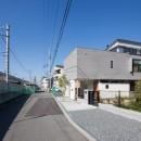 鶴見の家/線路沿いの細長い敷地に建つ木造3階建ての2世帯住宅の写真 外観/目の前を電車が通る様子
