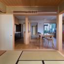 鶴見の家/線路沿いの細長い敷地に建つ木造3階建ての2世帯住宅の写真 和室/和室から1階LDKを見る。奥に中庭。
