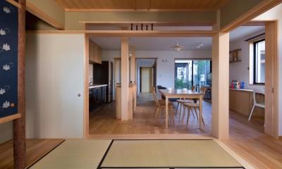 鶴見の家/線路沿いの細長い敷地に建つ木造3階建ての2世帯住宅 (和室/和室から1階LDKを見る。奥に中庭。)