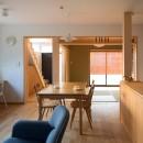 鶴見の家/線路沿いの細長い敷地に建つ木造3階建ての2世帯住宅の写真 1階LDK/奥に和室、その左に階段・ホール。