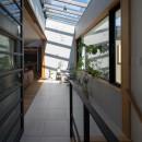 鶴見の家/線路沿いの細長い敷地に建つ木造3階建ての2世帯住宅の写真 アトリウム/2階の玄関ホールを兼ねたアトリウム