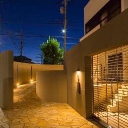 下新城の家 (夜景2(アプローチ))