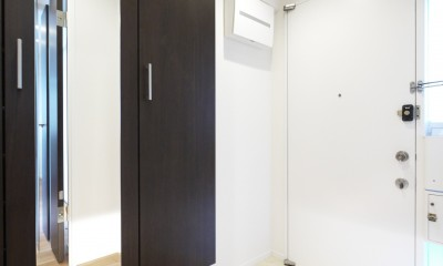 ペニンシュラ型キッチンの1LDKに (玄関)