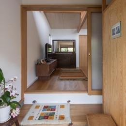 玄関/右側は衝立で仕切られたシューズクロークになっています (伊勢田の家/夫婦2人のためのコンパクトな平屋の住まい)