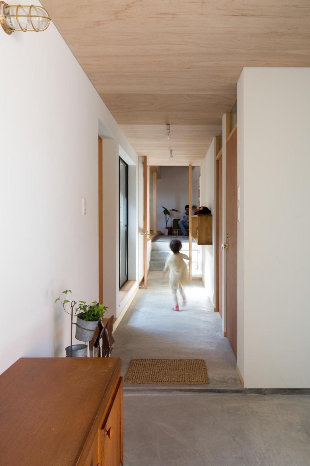 日吉台の家/大きな屋根の下にスキップフロアで各部屋が繋がる大らかな住まい (玄関/家の中まで続くモルタルの土間)