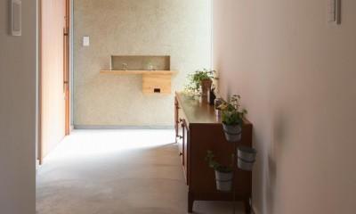 日吉台の家/大きな屋根の下にスキップフロアで各部屋が繋がる大らかな住まい (玄関/左官塗りの外壁や土間のモルタルに良く馴染む木製の玄関戸)