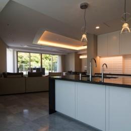 プレミアムマンションのリノベーション計画〜都会の森の家 (キッチン)
