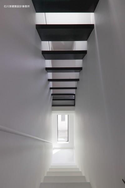 階段 (谷根千ペンシルハウス  東京の谷根千地区で完成した木造3階建ての住宅)