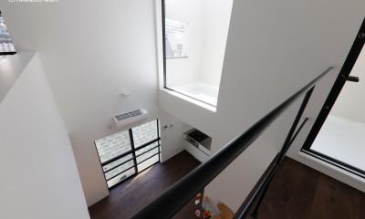 谷根千ペンシルハウス  東京の谷根千地区で完成した木造3階建ての住宅 (吹抜 見下ろし)