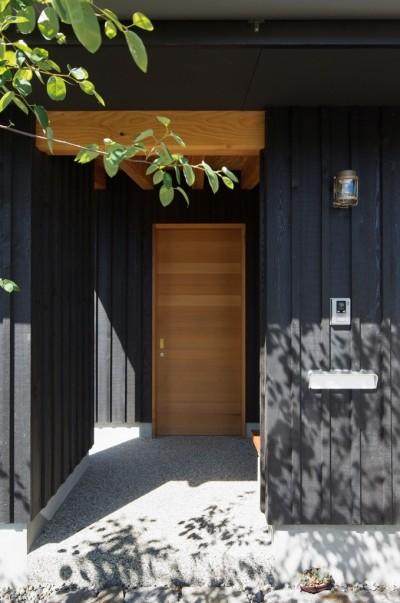 玄関アプローチ (寺津の家/墨色の押縁板壁の家)