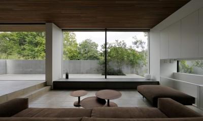 大開口のリビング|三鷹の家~緑を望む大開口の家