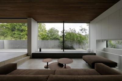 三鷹の家~緑を望む大開口の家 (大開口のリビング)