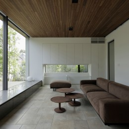 三鷹の家~緑を望む大開口の家 (テラスの緑を取り込むリビング)