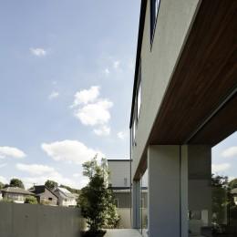 三鷹の家~緑を望む大開口の家 (タイル貼りのテラス)