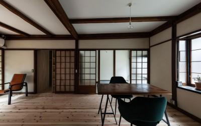 居間 (昭和小路の長屋II|賃貸向け京町家のシンプルリノベーション【京都市】)